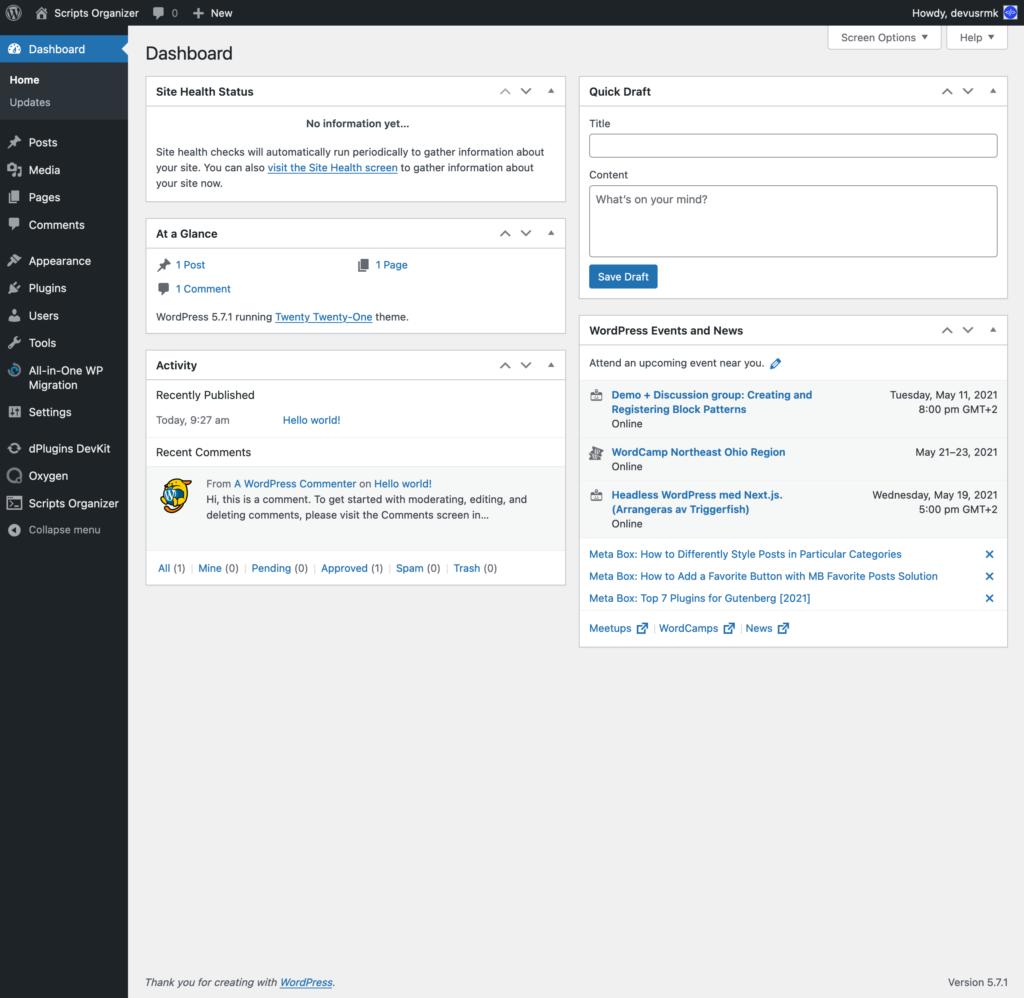 screenshot 2021 05 09 at 20 20 21 dashboard ‹ scripts organizer — wordpress